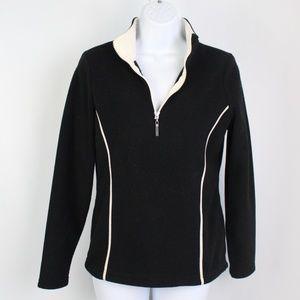Izod black white 1/4 zip fleece pull over top
